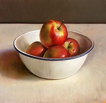 Stilleven met appelen in emaille kom, 50x48cm, 2010.VERKOCHT