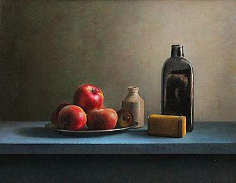 Stilleven met fles en rode appelen, 72x53cm, 2009.