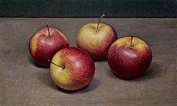 Stilleven met vier appels, 19x32cm, 2012.