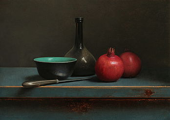 Stilleven met granaatappels en zwart/groen kommetje, 51x36cm, 2016.