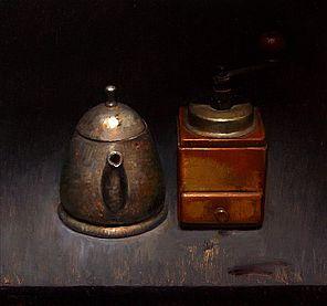 Stilleven met koffiemolen, 35x37cm, 2010.VERKOCHT