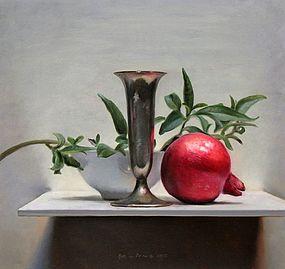 Stilleven met granaatappel, 35x33cm, 2012.VERKOCHT