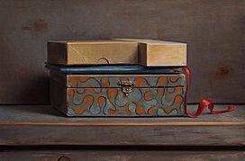 Stilleven met rood lintje, 35x23cm, 2014.