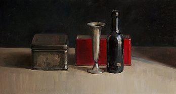 Stilleven met vaas en rood doosje, 60x32cm, 2010.