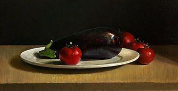 Stilleven met aubergine, 58x30cm, 2009.VERKOCHT (Collectie Galerie Zozimus, Ierland)