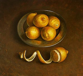 Stilleven met citroenen, 60x60cm, 2007. VERKOCHT (Prive collectie Nederland)
