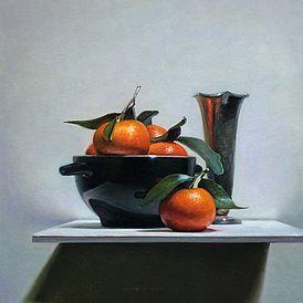 Stilleven met mandarijntjes II, 33x33cm, 2012.VERKOCHT