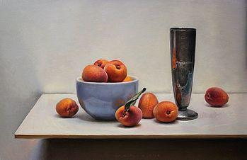 Stilleven met abrikozen, 50x32cm, 2012.VERKOCHT
