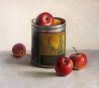 Stilleven met appelen en vanilleblik, 44x39, 2007.
