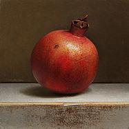 Gedetailleerd stilleventje met granaatappel, 20x20cm, 2016.