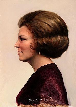 Portret van Koningin Beatrix, 50x37cm, 2013.