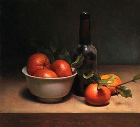 Stilleven met mandarijntjes, 35x32cm, 2012.VERKOCHT