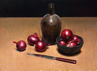 Stilleven met rode uien, 38x45, 2010.VERKOCHT (Prive collectie Nederland)