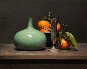 Stilleven met mandarijnen en groene vaas, 46x37cm, 2013.VERKOCHT