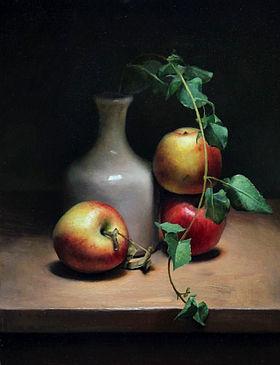 Stilleven met appels, 34x44cm, 2012.VERKOCHT