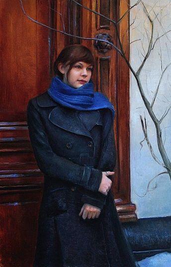 Figuurstudie met Sanne bij cafe De Blauwe Hand, 70x45cm, 2012.
