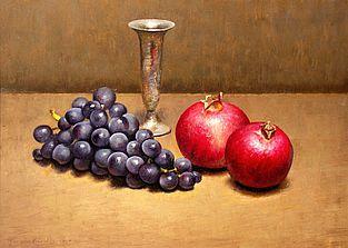 Stilleven met druiven, 40x29cm, 2010.VERKOCHT (Prive collectie Duitsland)
