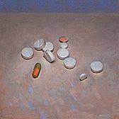 Stilleven met pillen, 15x15cm, 2011. VERKOCHT (Prive collectie Nederland)