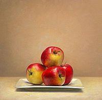 Stilleven met appelen, 42x45cm, 2010.