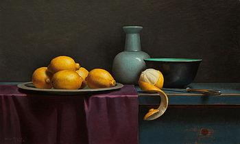 Stilleven met geschilde citroen en paars doekje, 75x45cm, 2016.