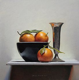 Stilleven met mandarijntjes, 33x34, 2011.VERKOCHT