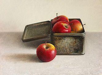 Stilleven appelen in blikken doos, 43x35cm, 2007. VERKOCHT