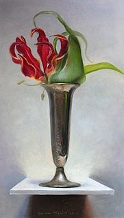 Stilleven met Gloriosa, 17x30cm, 2012.VERKOCHT