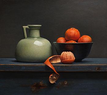 Stilleven met mandarijntjes, 55x49cm, 2015.