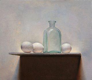 Eieren met fles, 41x35, 2012.VERKOCHT