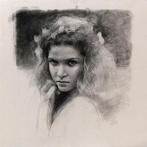 Portret van Amy, 40x40cm, 2014. Houtskool op papier.