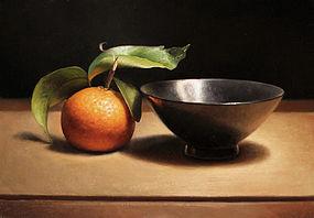 Stilleven met mandarijntje en zwarte kom, 24x35cm, 2013.VERKOCHT