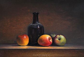 Stilleven met appels en fles, 47x33cm, 2011. VERKOCHT (Prive collectie Duitsland)