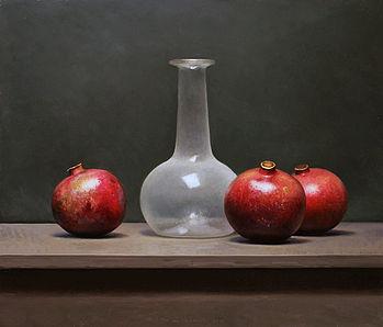 Stilleven met granaatappels en witte fles, 40x46cm, 2013.SOLD