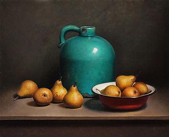 Stilleven met peren en groene fles, 65x55cm, 2013.