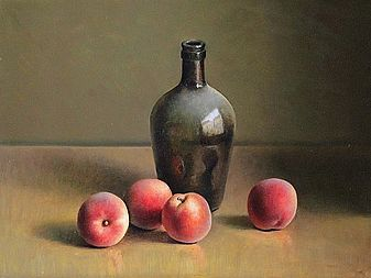 Stilleven met perziken, 44x33cm, 2011.