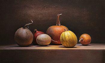 Stilleven met pompoenen, 75x45cm, 2011.
